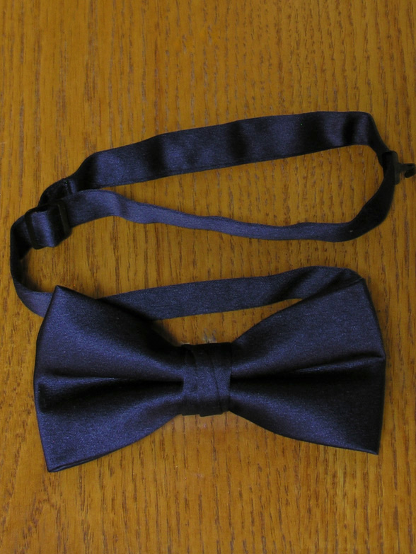 e2d949b30fe1 Navy Bow Tie Men's Satin Pre-Tied Clip Bow Tie 2 1/2-Inch Spencer J's  Signature Collection