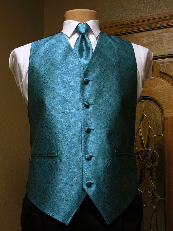 Turquoise Paisley Vest Men S Satin Vest With Adjustable