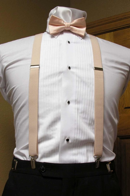 5bce4cff2dea Peach Men's Suspender 1-Inch X Back With Peach Pre-Tied Bow Tie Spencer J's  Collection