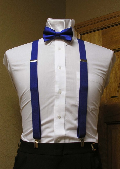 faced43671eb Royal Blue Men's Suspender 1-Inch X Back With Royal Blue Pre-Tied Bow Tie  Spencer J's Collection