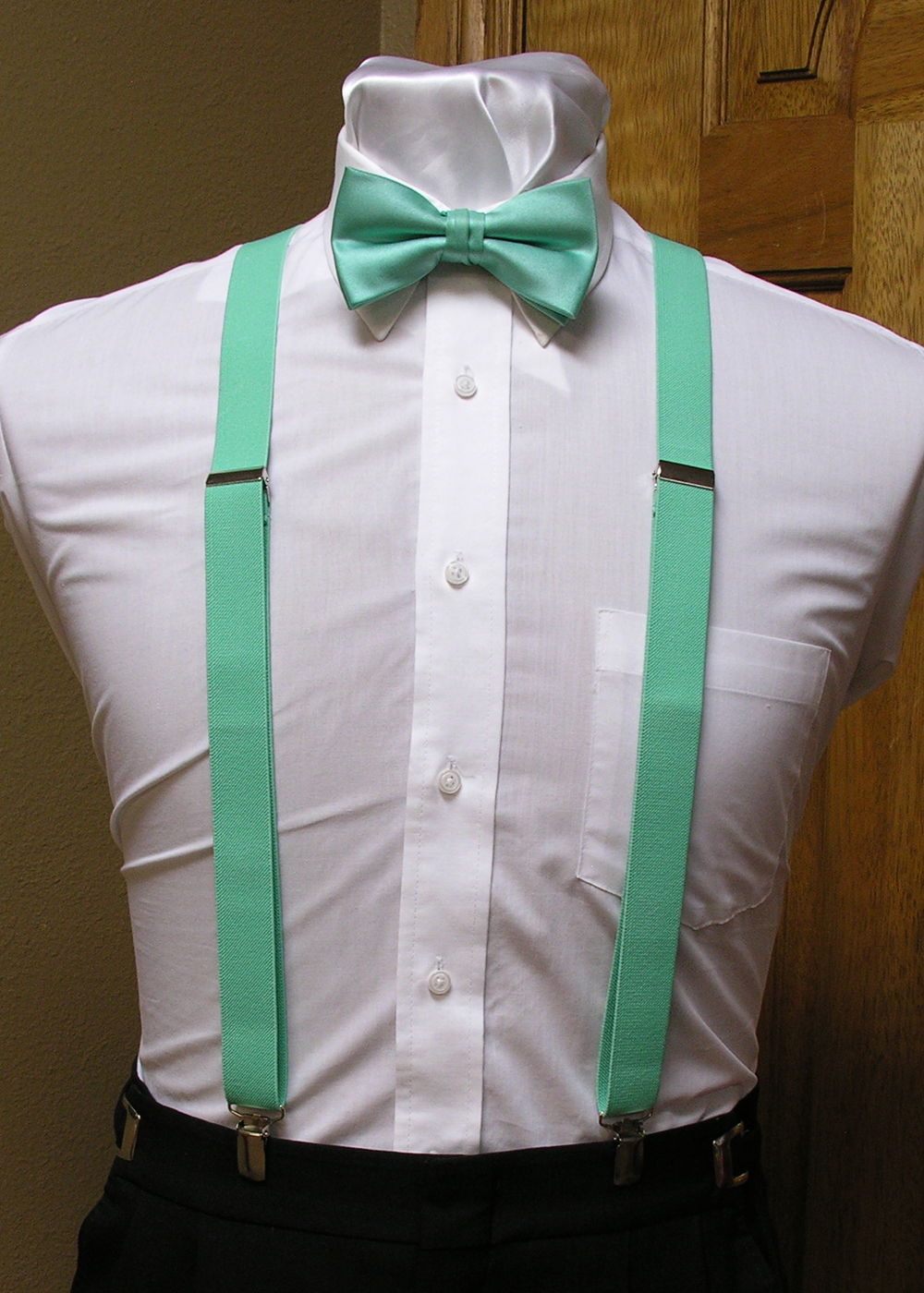 Mint Men S Suspender 1 Inch X Back With Mint Pre Tied Bow