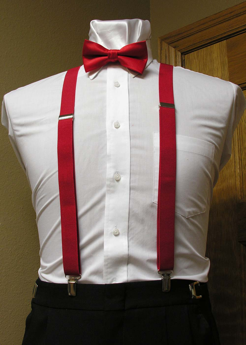 2146218982e4 Red Men's Suspender 1-Inch X Back With Red Pre-Tied Bow Tie Spencer J's  Collection