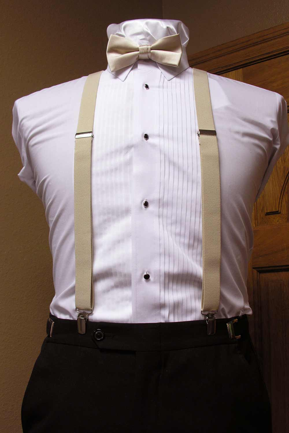 28db55061d27 Champagne Men's Suspender 1-Inch X Back With Champagne Pre-Tied Bow Tie  Spencer J's Collection